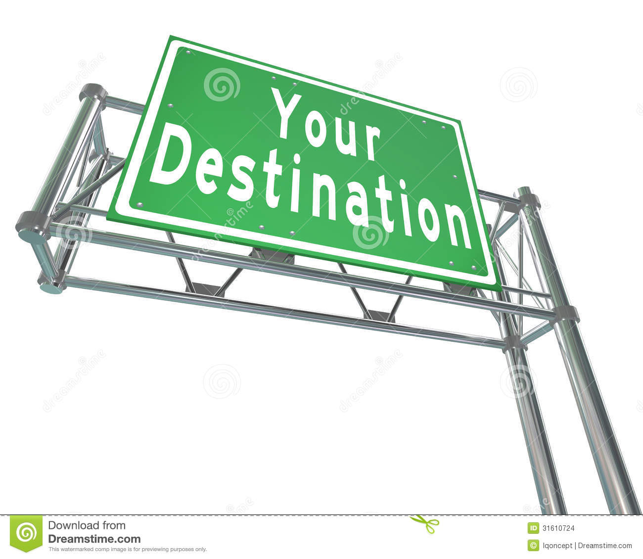 Your Destination Green Freeway Sign Arriving At Desired Location.