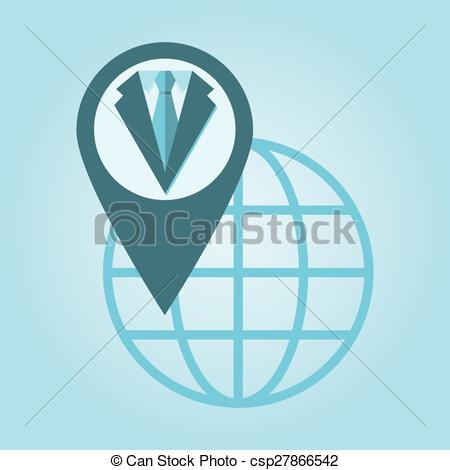 EPS Vector of Thin line icon with flat design element of global.