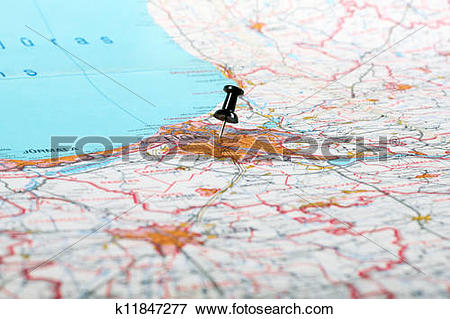 Picture of pushpin showing the location of a destination point on.