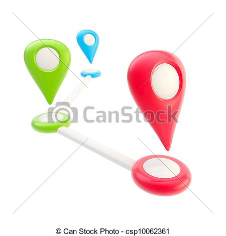 Stock Illustration of Route and geo tagging concept as destination.
