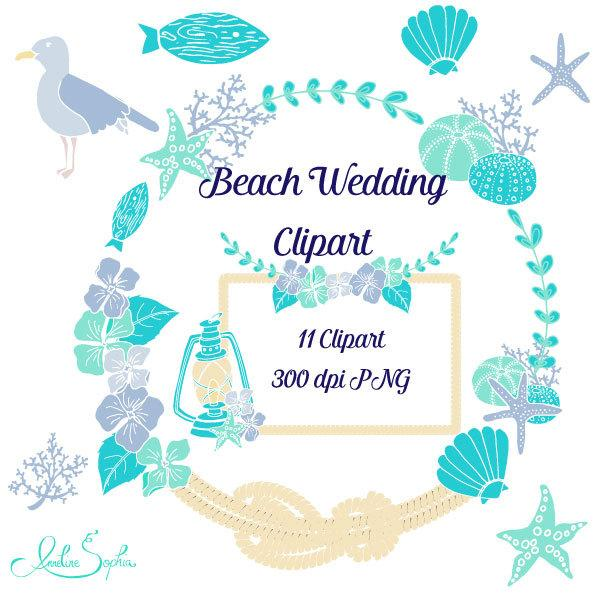 Beach Wedding Clipart Nautical Wedding Invitation Clip Art.
