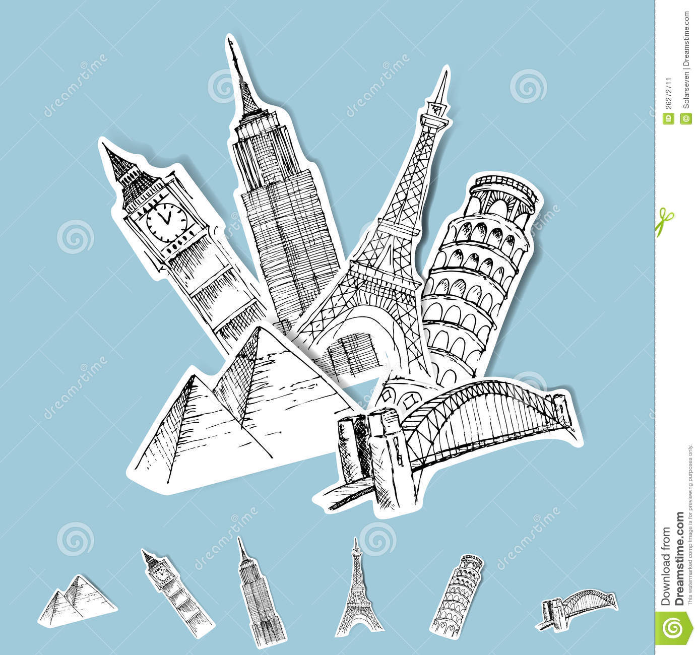 Vector Sticker Travel Destinations Stock Image.