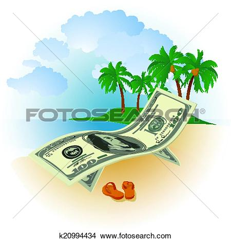 Clipart of Money on Vacation k20994434.