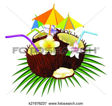 Clip Art of coconut cocktail k21676237.