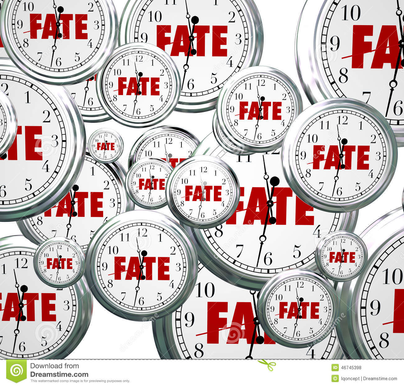 Fate Word Clocks Destiny Time Moving Forward Destined Outcome Re.