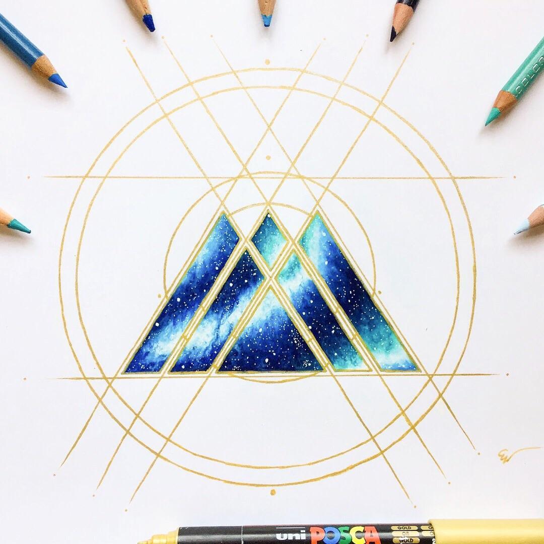 My drawing of the warlock emblem in Nebula! : destiny2.