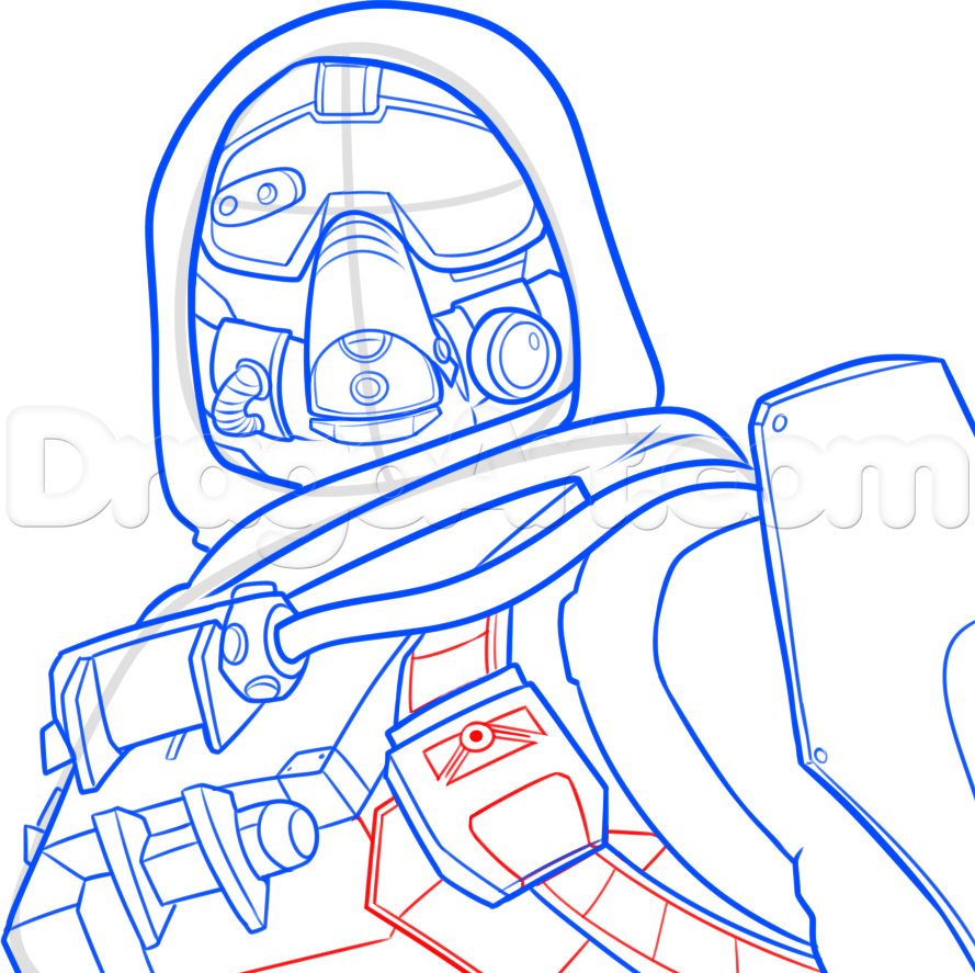 How to Draw a Hunter from Destiny, Step by Step, Video Game.