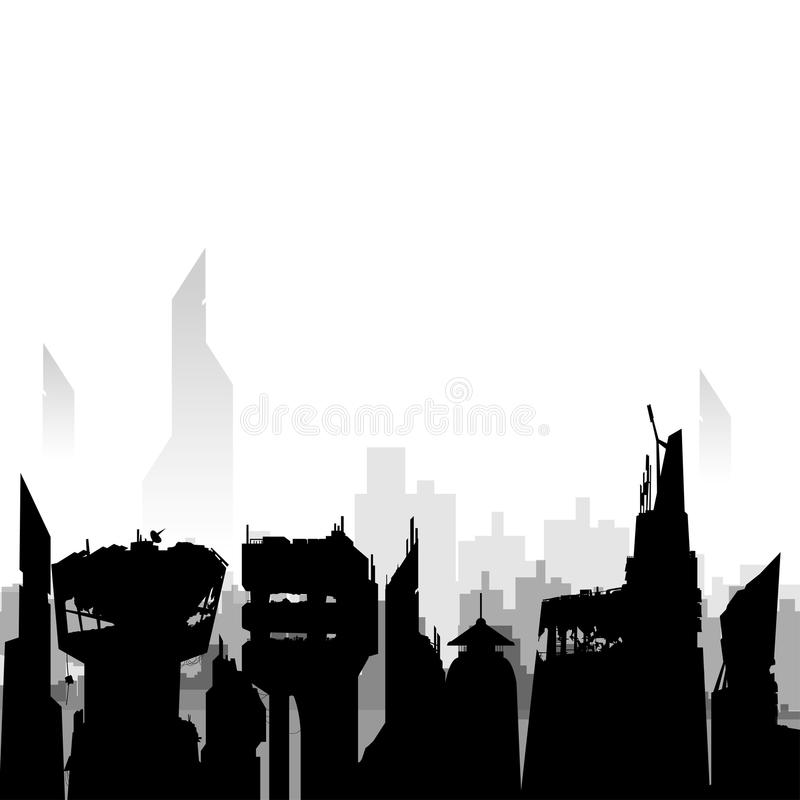 Destroyed City Skyline Silhouette.