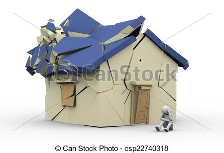 Clipart of 3d destroyed home and sad man.