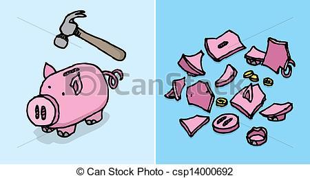 EPS Vectors of Piggy bank destroyed / Economic depression Savings.