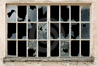 Broken Window Royalty Free Stock Photography.