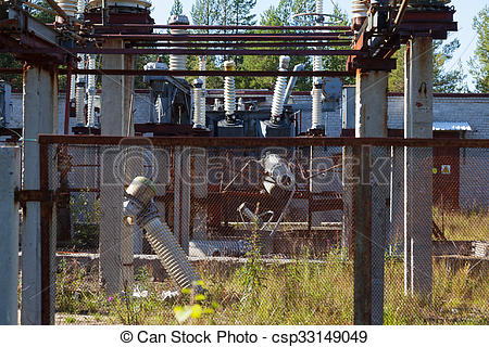 Drawing of The destruction at the transformer substation as a.