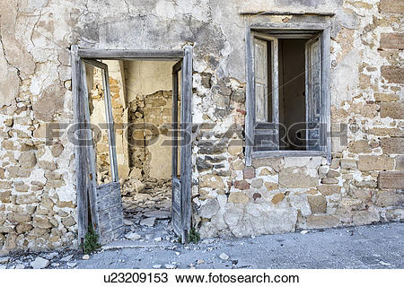Stock Photo of Poggioreale street detail of earthquake destruction.