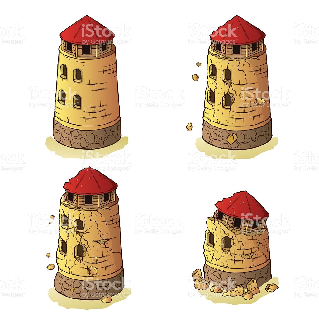 The Destruction Of The Defensive Tower stock vector art 518379121.