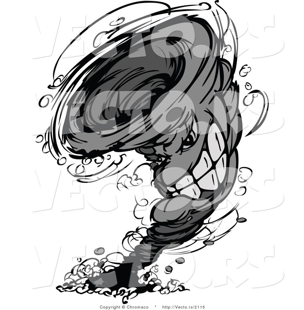 Vector of a Competitive Cartoon Twister Tornado Mascot Leaving a.