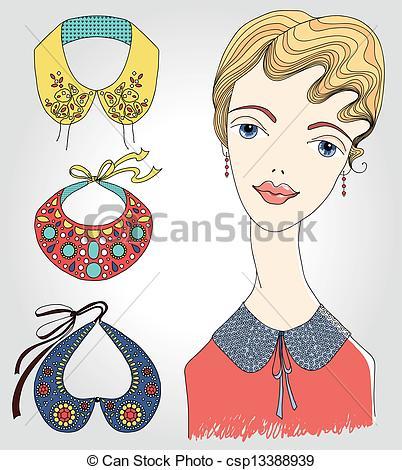 Vectors of Fashion girl in detachable collar csp13388939.