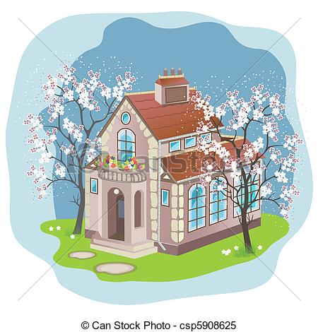 Clipart Vector of Spring house.