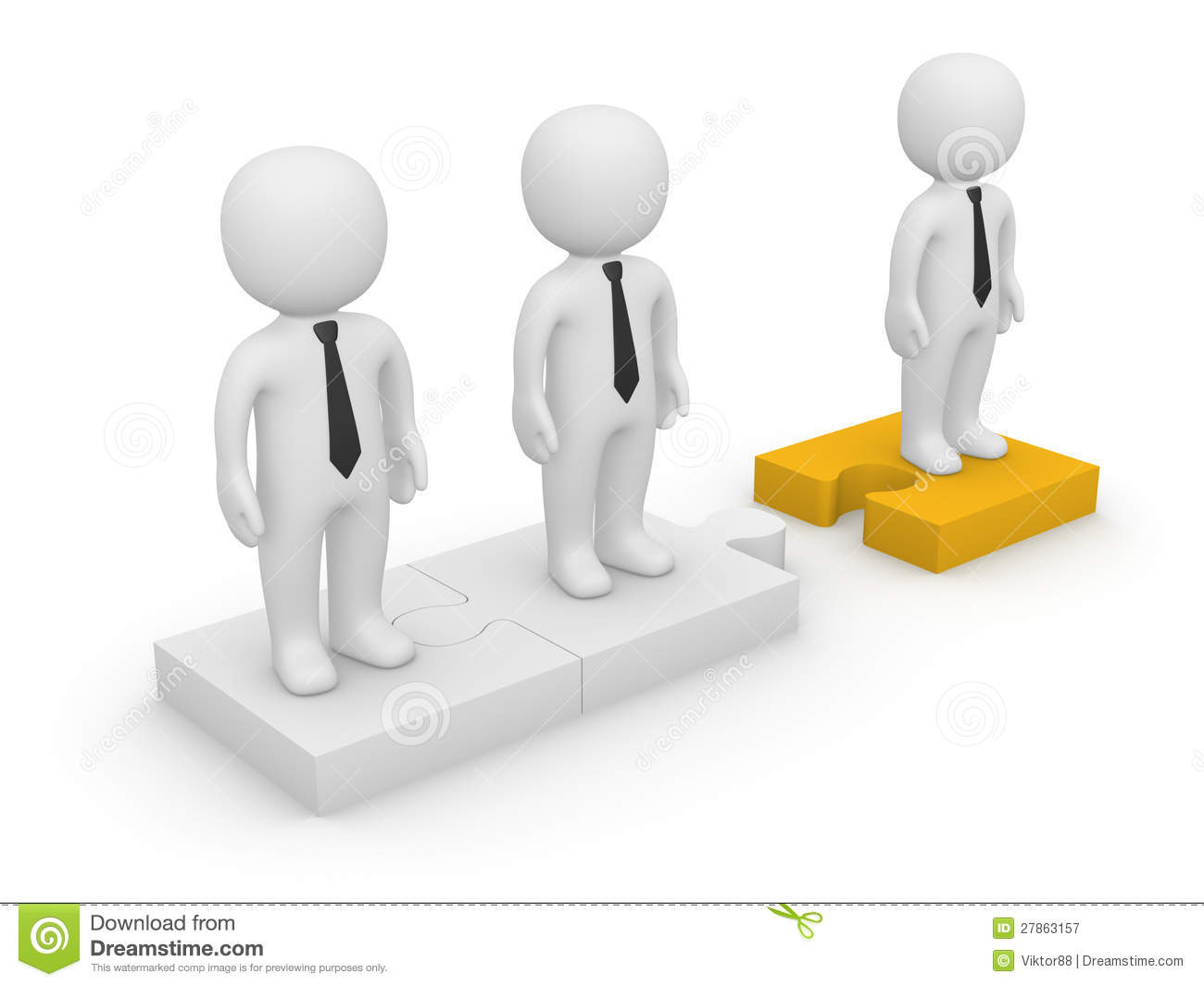 3d People Standing On Detached Puzzle Pieces Royalty Free Stock.