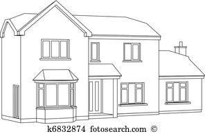 Detached house Clip Art Illustrations. 855 detached house clipart.