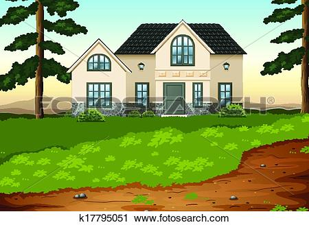 Clipart of A big concrete single detached house k17795051.