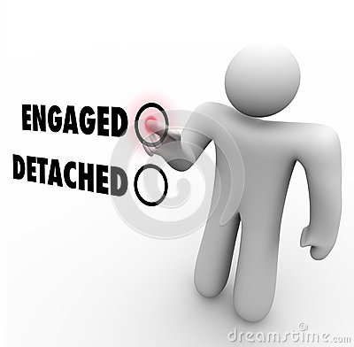 Engaged Vs Detached Person Choosing Interaction Attitude Stock.