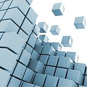 Clip Art of green cube getting detached concept k10239152.
