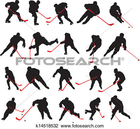 Clipart of 20 detail ice hockey poses k14518532.