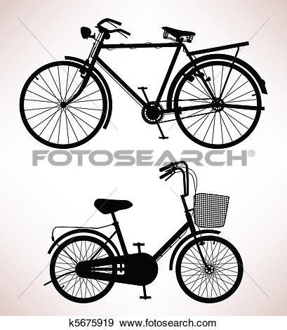 Clip Art of Old Bicycle Detail k5675919.