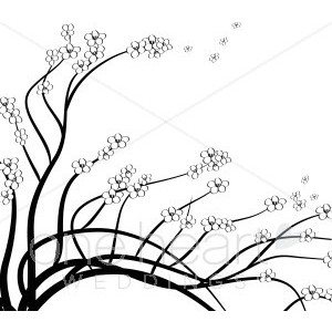 Cherry Branch Detail Clipart.