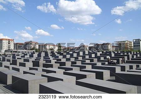 Stock Photograph of Concrete slabs at memorial, Holocaust Memorial.