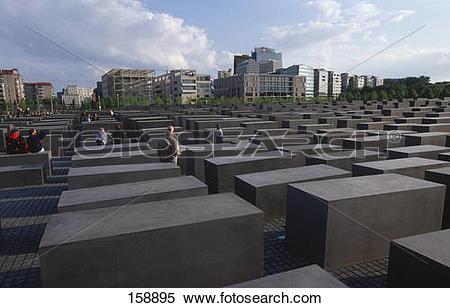 Stock Image of Concrete steles at memorial, Holocaust Memorial.
