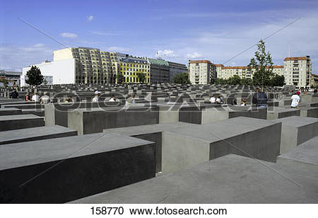 Stock Photography of Concrete steles at memorial, Holocaust.