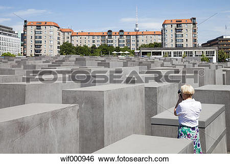Stock Images of Germany, Berlin, Holocaust Memorial, Mature woman.