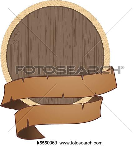 Clipart of wooden shield with rope detail k5550063.