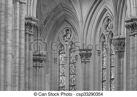 Stock Images of Interior Detail View of Neo Gothic Church.