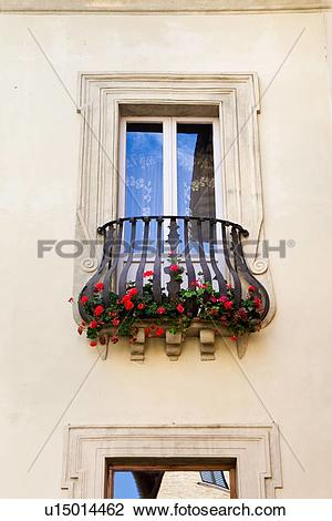 Stock Photo of Detail view of Renaissance palace window, with.