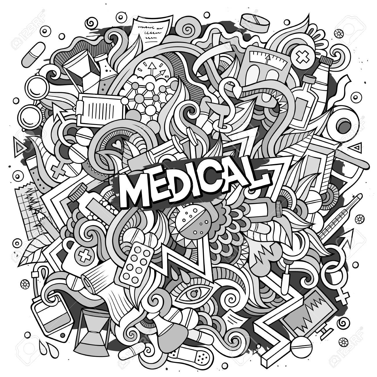 Cartoon cute doodles hand drawn Medical illustration. Line art...