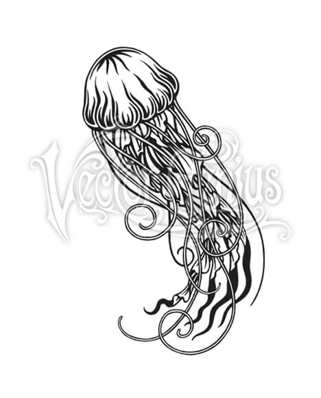 Trendy Tropical Jellyfish Clip Art.
