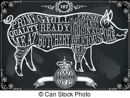 Clipart Vector of Vintage Blackboard American Cut of Pork.
