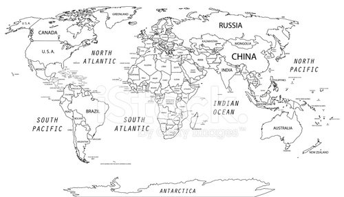 detailed world map Clipart Image.