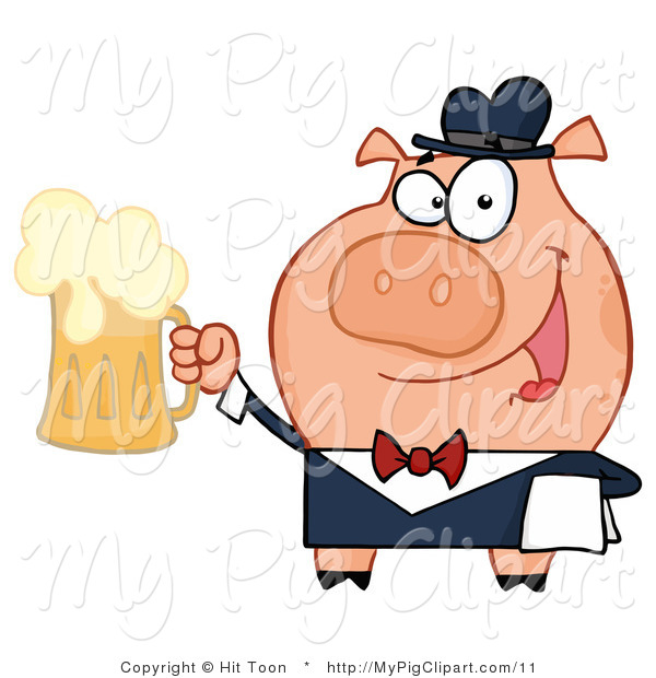 Vector Swine Clipart of a Bar Tender Pig by Hit Toon.