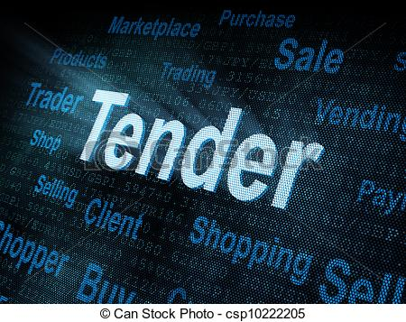 Stock Illustration of Pixeled word Tender on digital screen 3d.