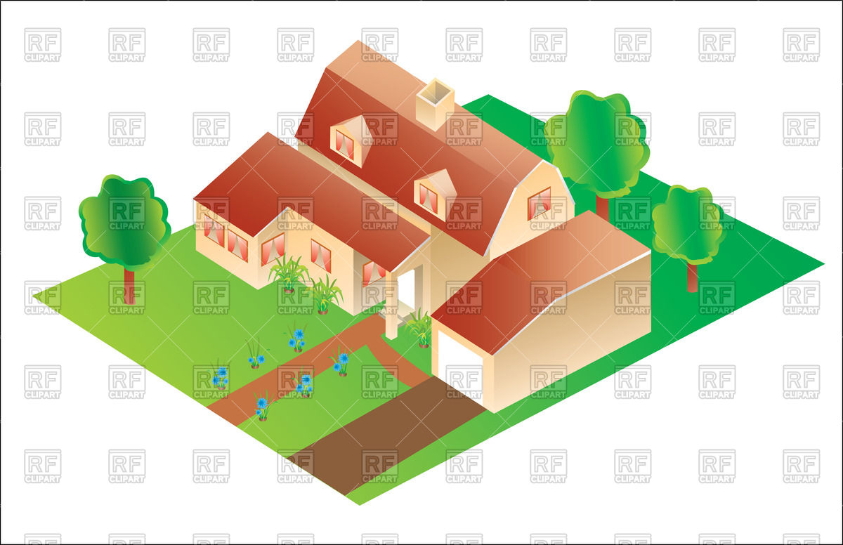 Detailed Top Of House House Clipart.
