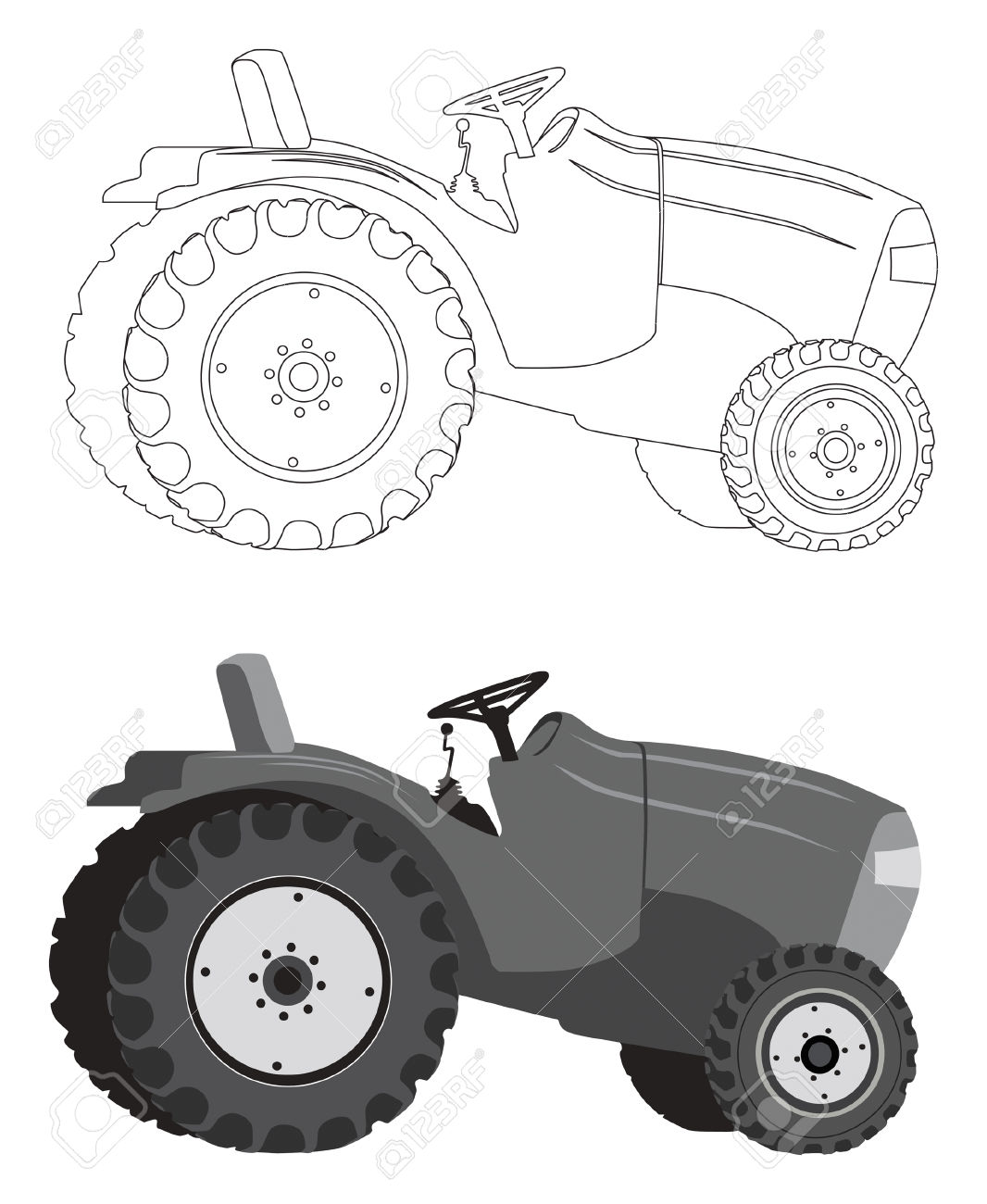 Detailed Tractor Silhouette In Gray Shades And Outlines Royalty.