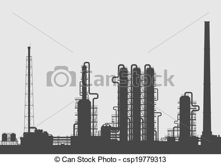 Vector Clip Art of Oil refinery or chemical plant silhouette.