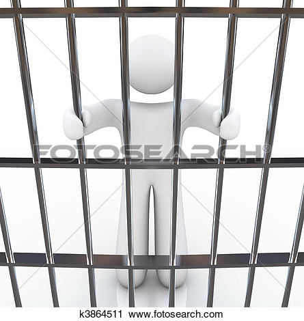 Clipart of Man in Jail Holding Bars k3864511.