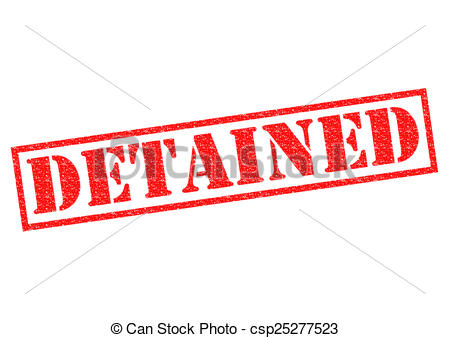 Clip Art of DETAINED red Rubber Stamp over a white background.
