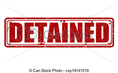 Vector Clip Art of Detained stamp.