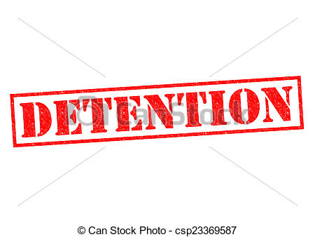 Stock Illustration of DETENTION red Rubber Stamp over a white.