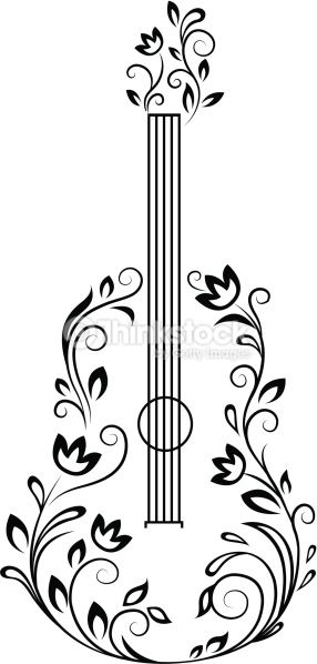 Guitar with floral details for entertainment design.